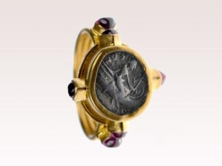 Greek Coin Gold & Ruby Ring