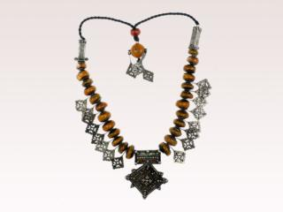 Faux Amber Bead & Silver Necklace
