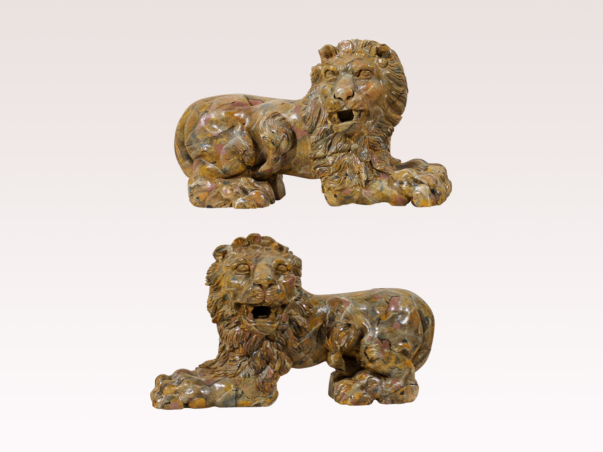 Pair of Italian Faux-Marble Lions