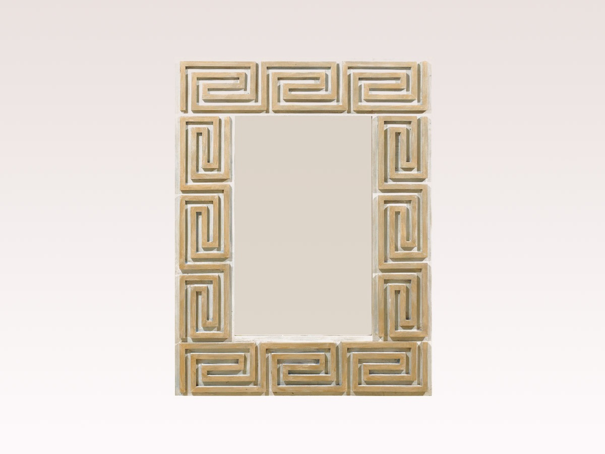 A Greek Key Painted Wood Mirror