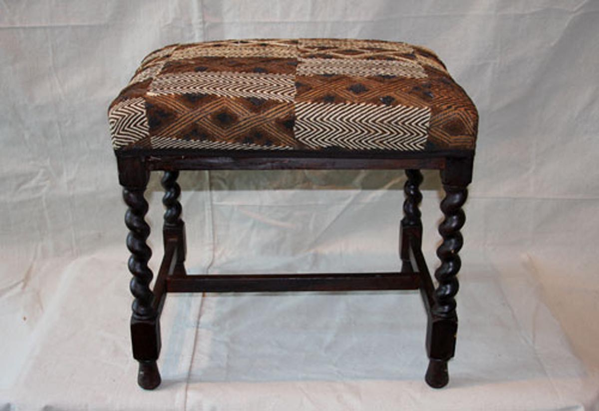 European Stool w/ Kuba Cloth Seat
