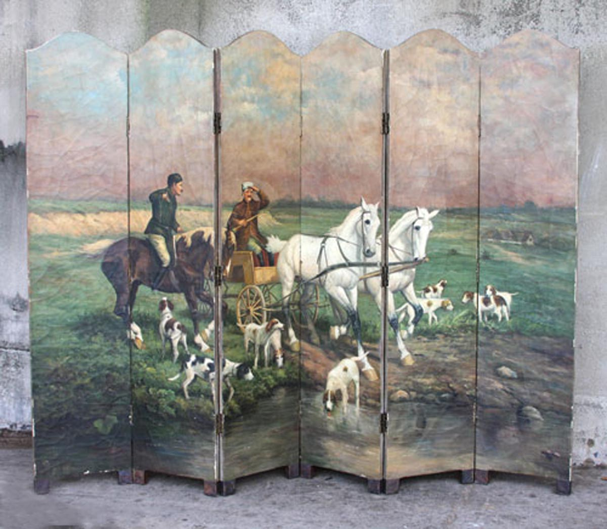 European Painted Six-Panel Screen