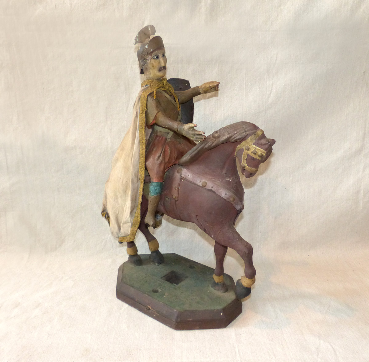 Antique Italian Soldier on Horse Statue