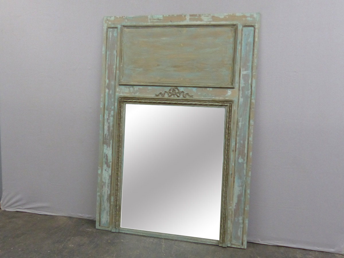 19th C. French Painted Trumeau Mirror