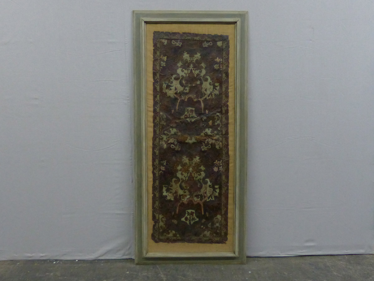Framed 18th C. Decorative Leather Panel