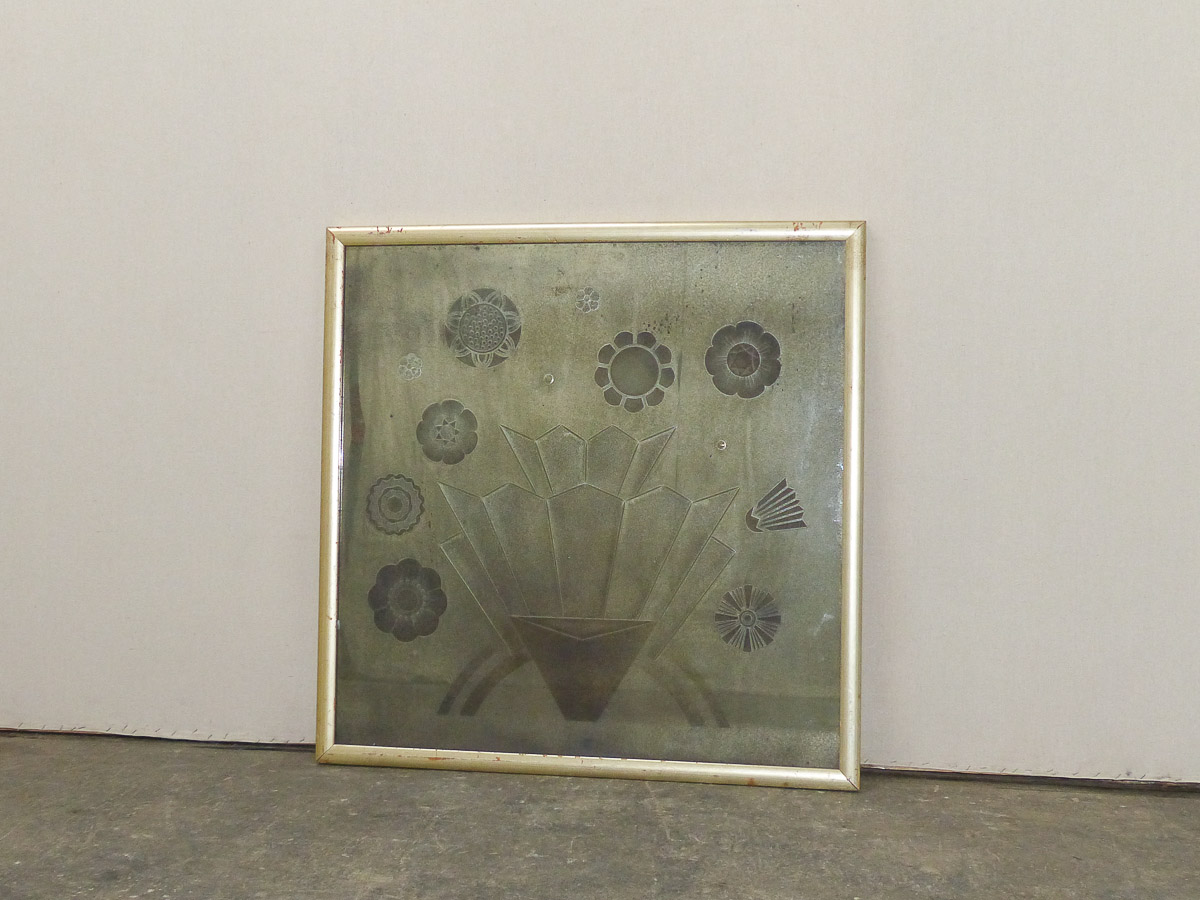 Art Deco Floral Mirror, 3+ Ft Square