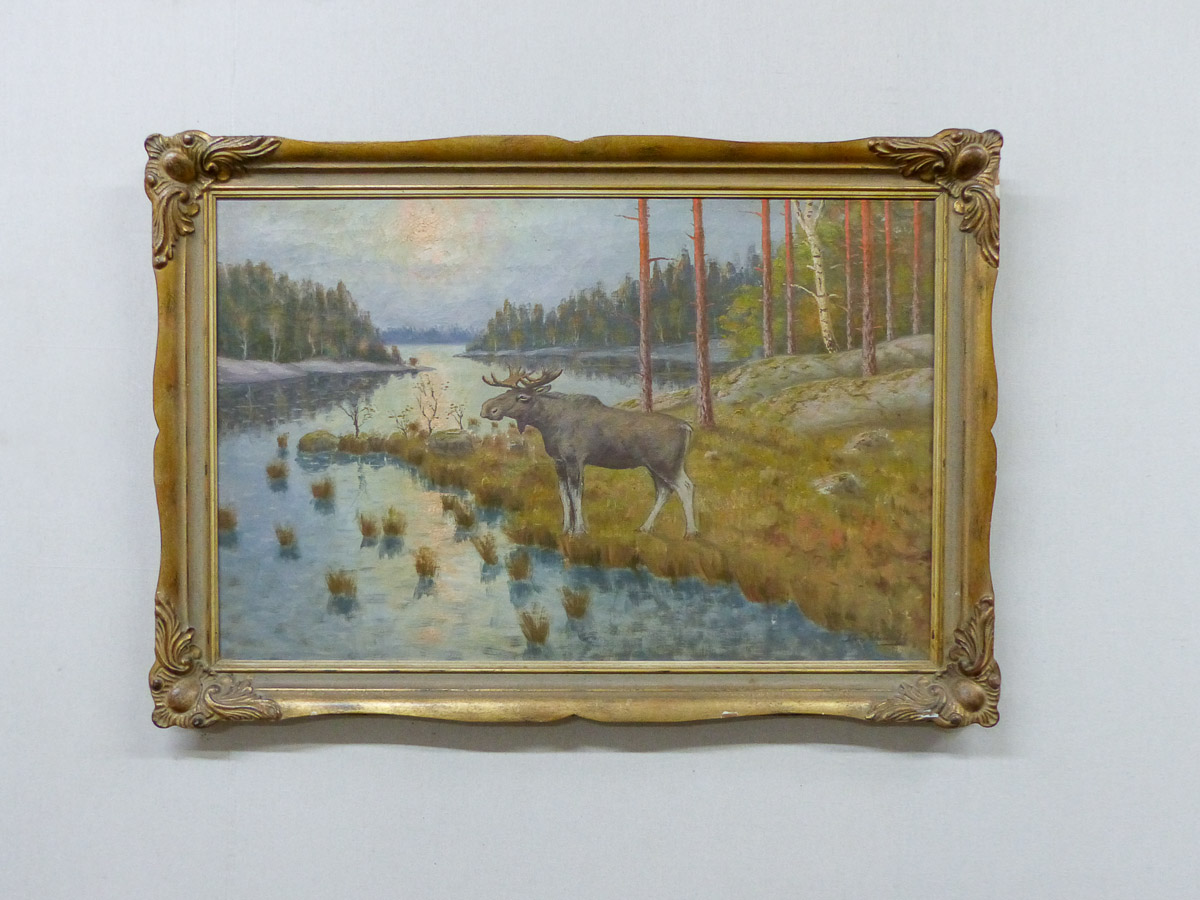Swedish Framed Landscape Painting w/Moose