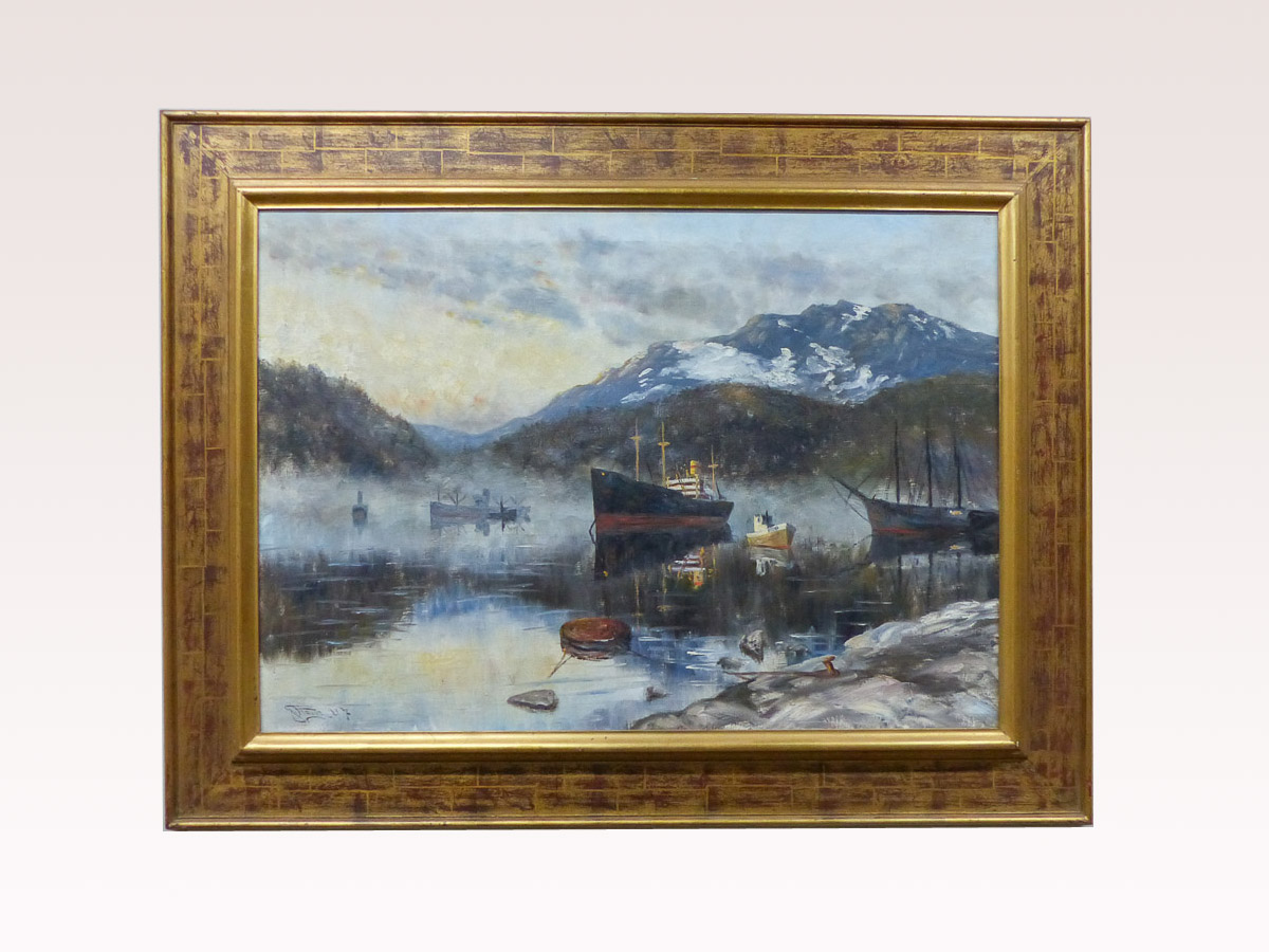 A Swedish Seascape Painting with Frame