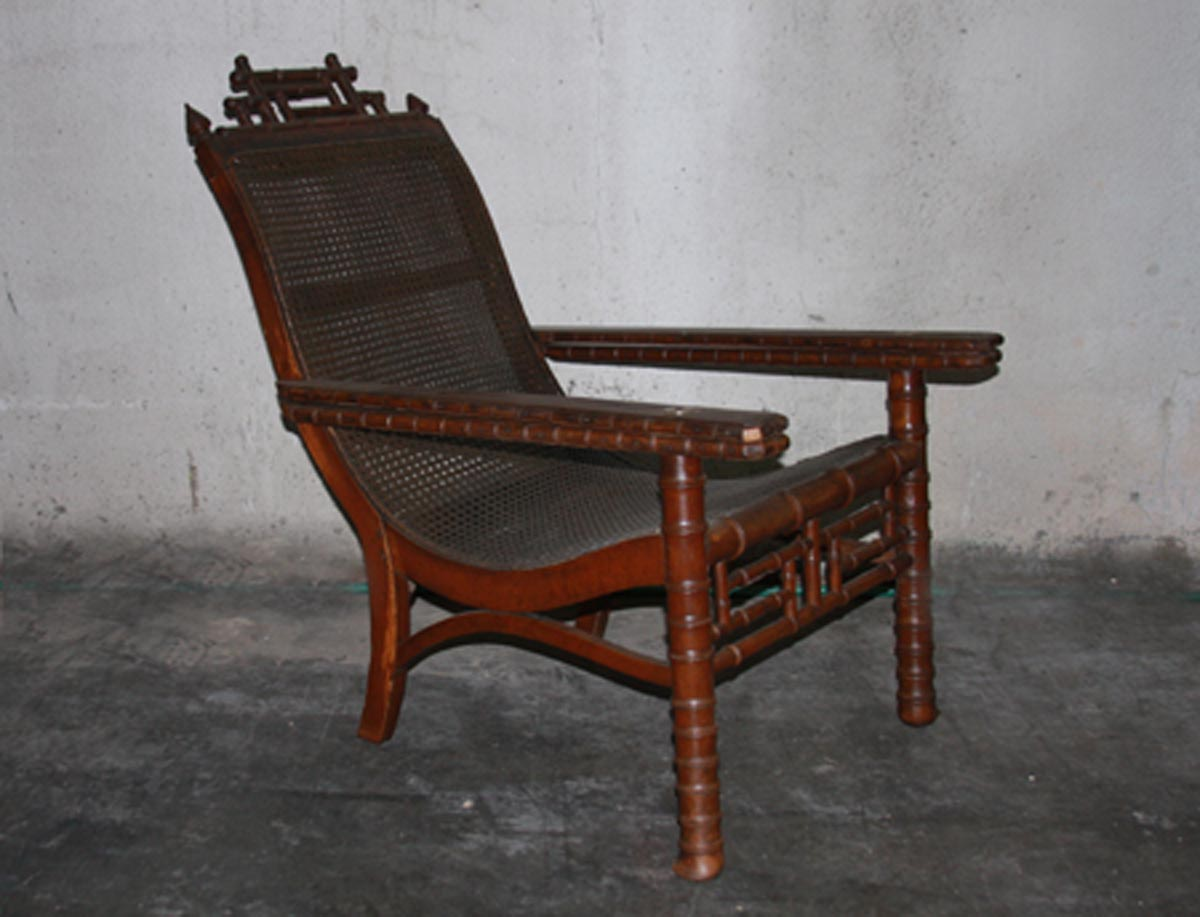 British Colonial Cane Seat Lounge Chair