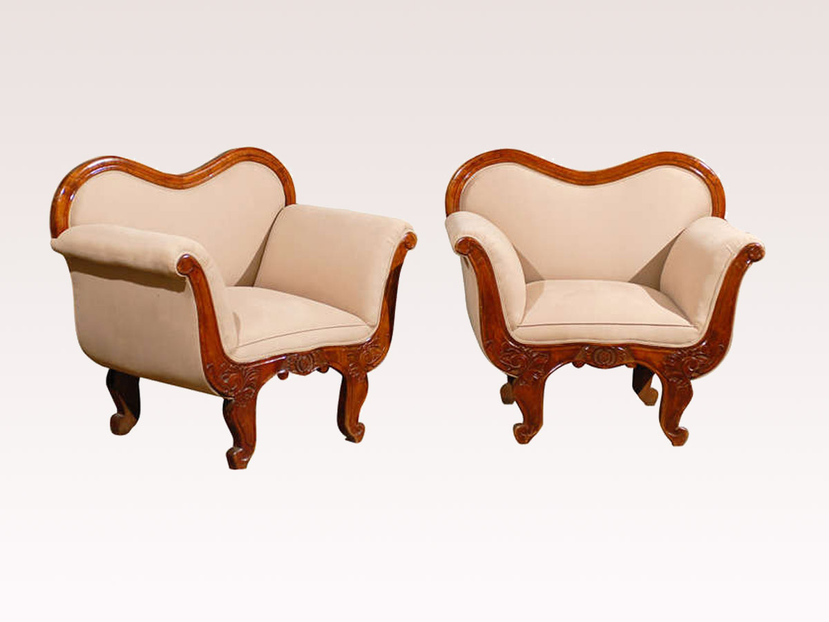 Pair Swedish Club Chairs, 19th Century