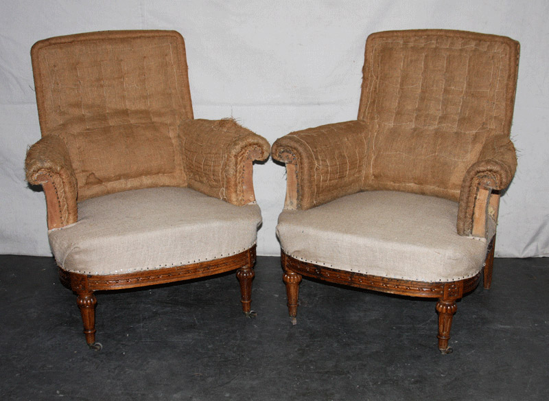 Pair French Club Chairs, Mid 20th Century