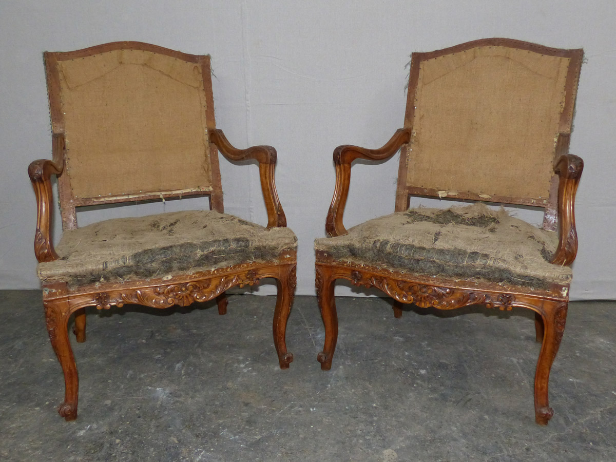 Pair French Louis XV Style Fauteuils