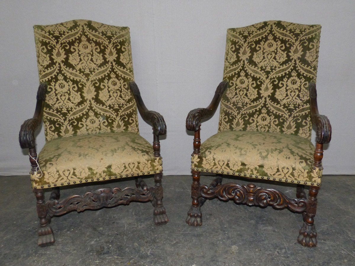 Pair 19th C. Swedish Baroque Arm Chairs