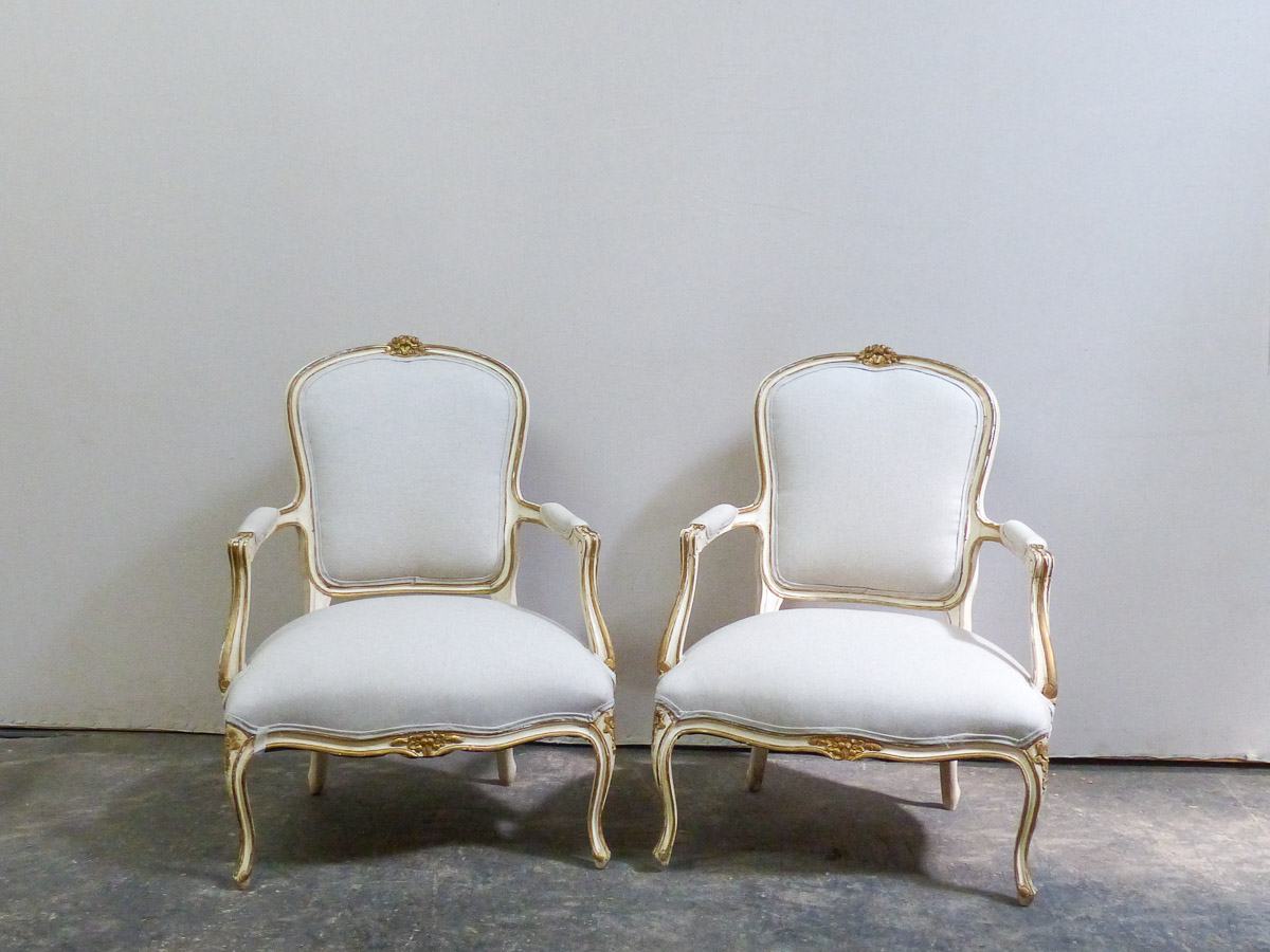 Pair French Louis XV Style Bergères Chairs