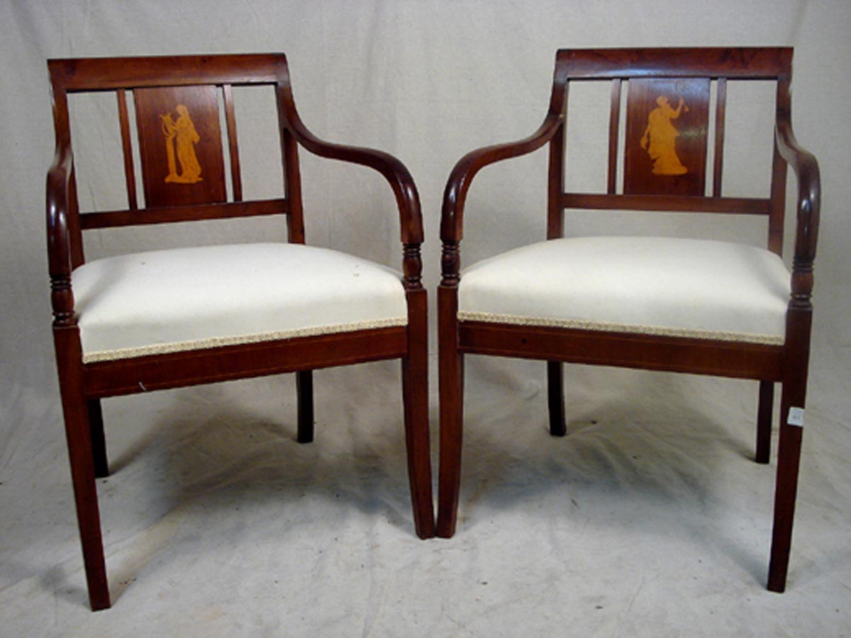 Pair Swedish Karl-Johan Arm Chairs