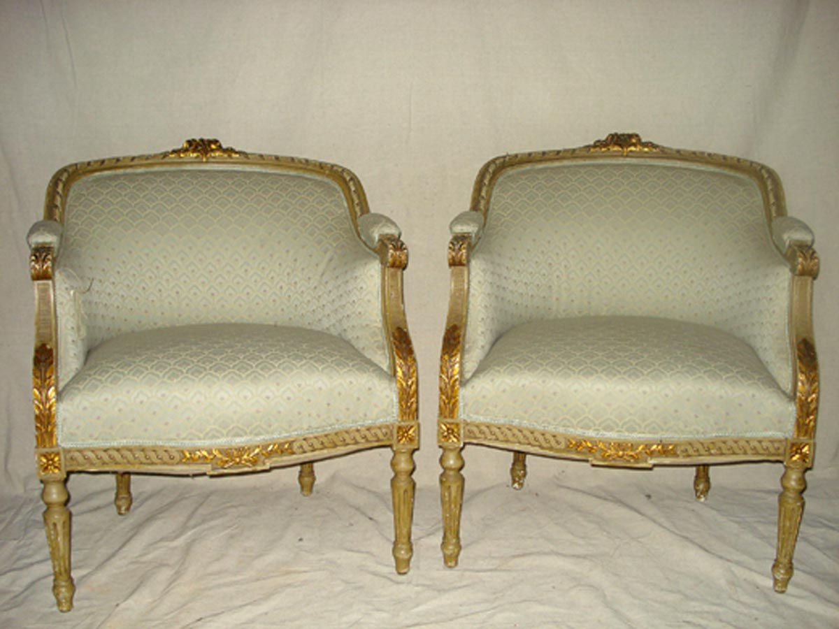 Pair French Louis XVI Style Arm Chairs