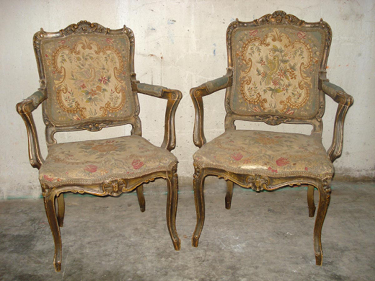 Pair French Louis XV Style Armchairs