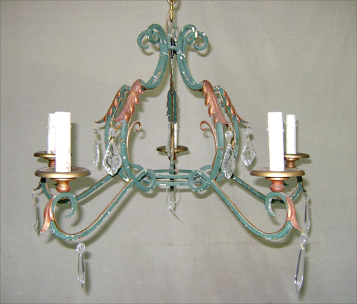 French Painted Iron Chandelier w/Crystals