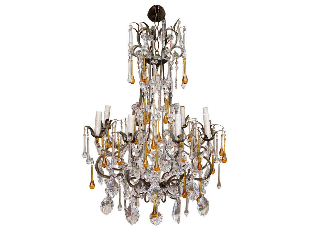 Crystal Chandelier, Yellow Drops