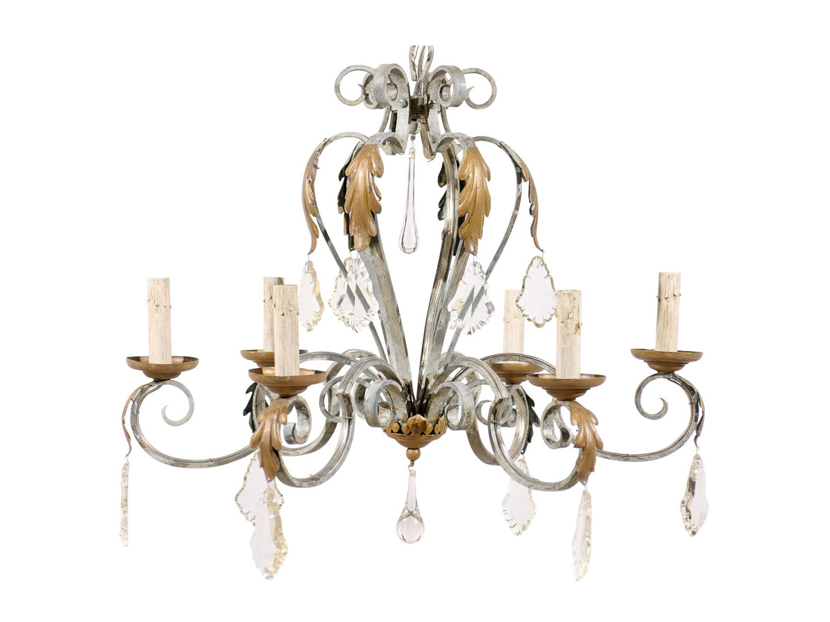 6-Light Iron & Crystal Chandleier