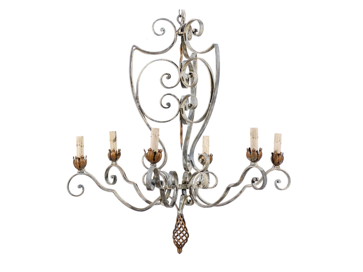 French Vintage 6-Light Chandelier