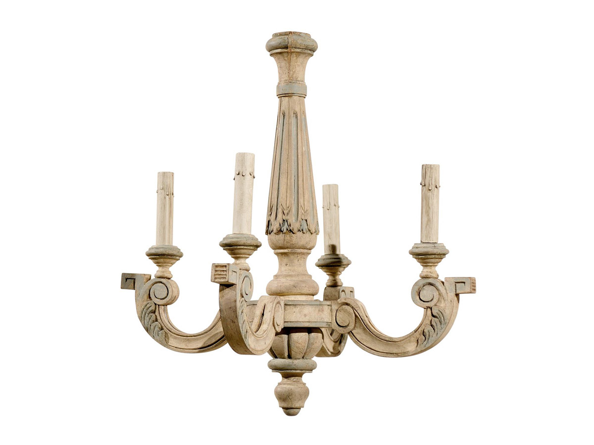 French 4-Light Wooden Chandelier