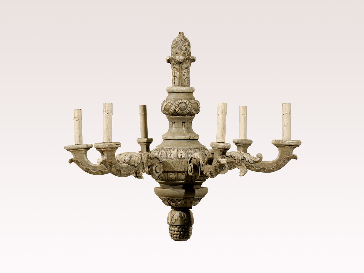 French 6-Light Wooden Chandelier
