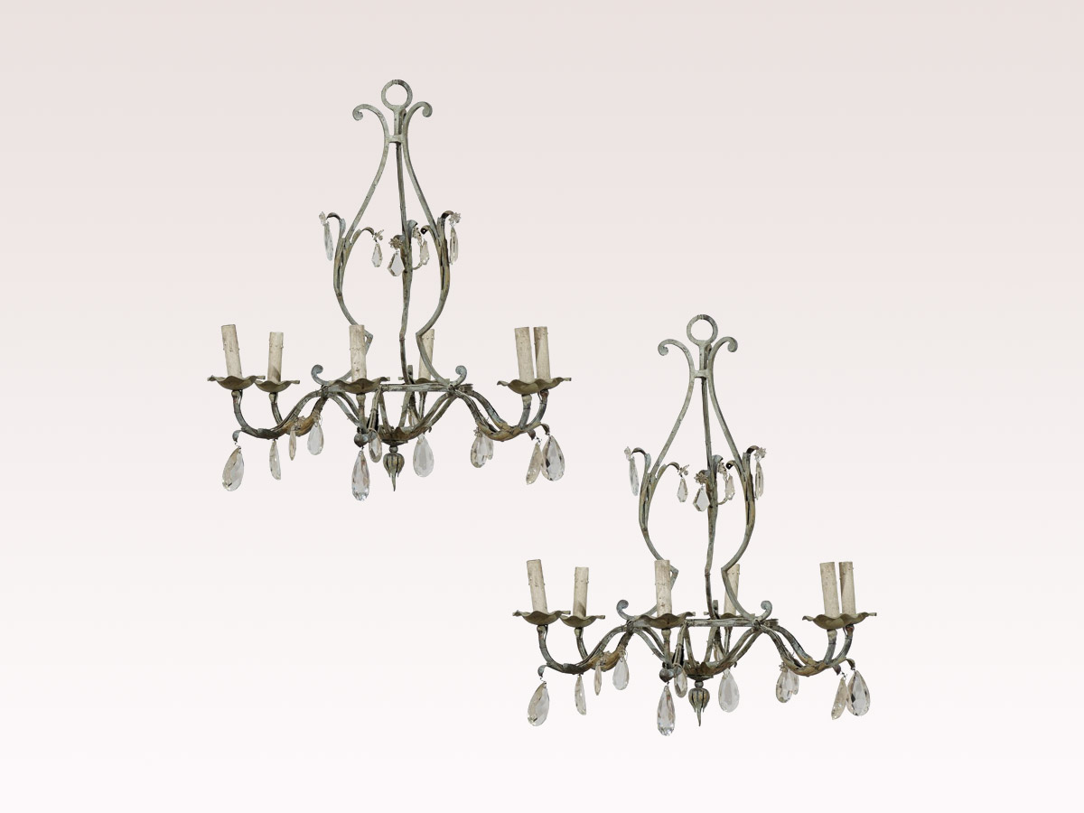 A Pair of French Iron Chandeliers