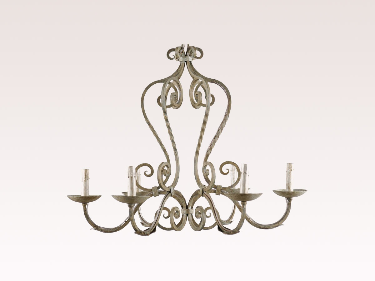 French Painted Iron Chandelier