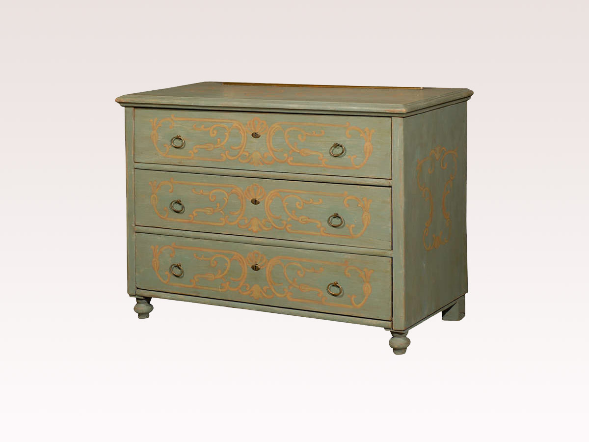 A Hand-Painted European 3-Drawer Chest