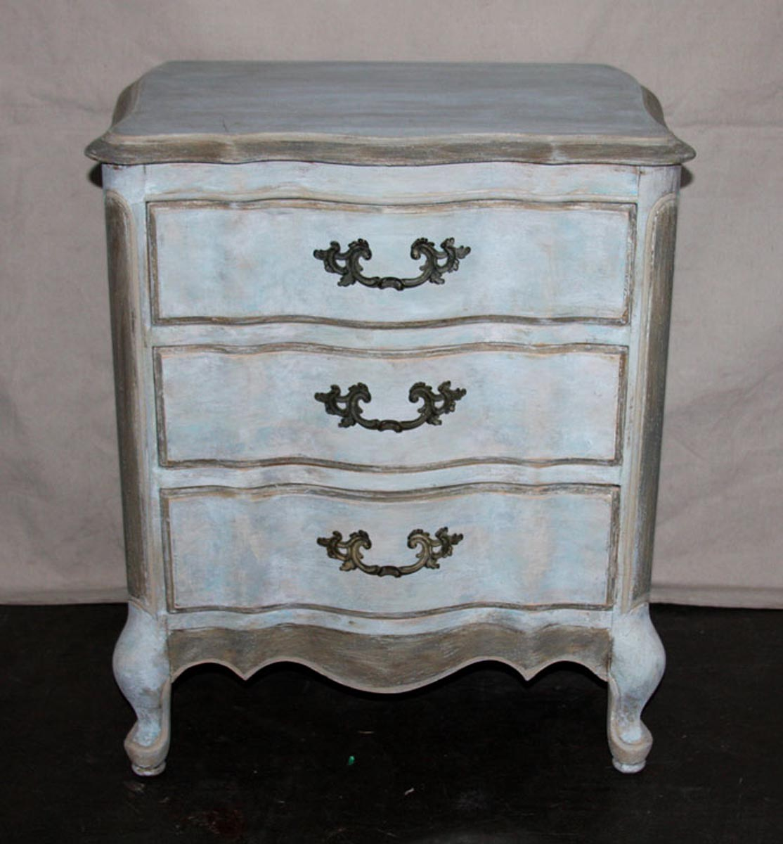 Petite Painted & Carved Wood Side Chest