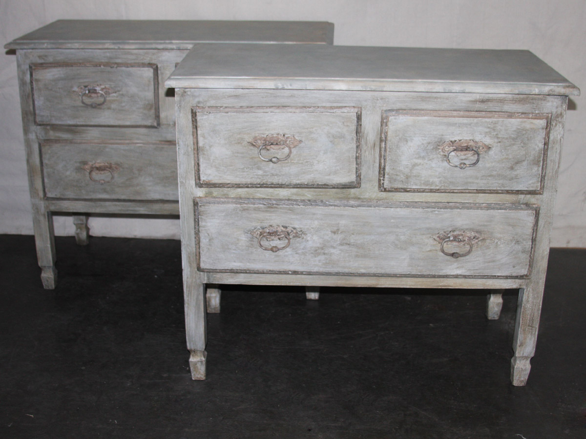 Painted Wood 3-Drawer Chest, 2 Available