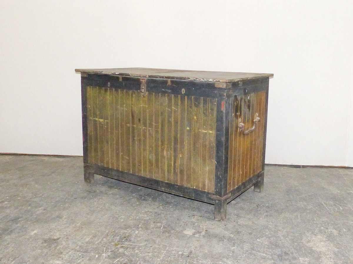 Late 19th C. Wood Trunk w/Original Paint