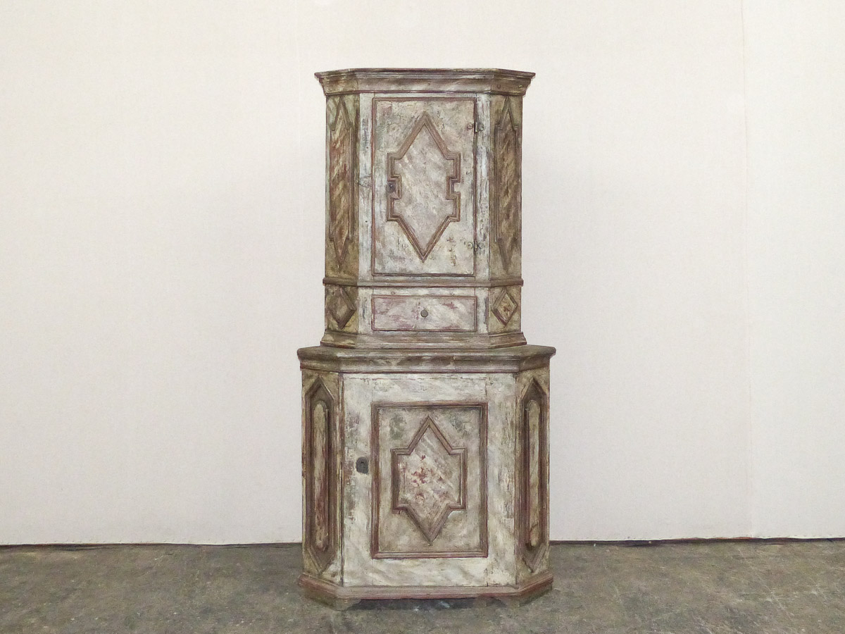Swedish 18th C. Painted Corner Cabinet