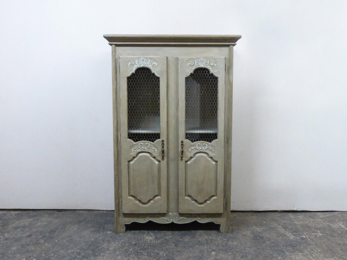 French Painted Wood Tall 2-Door Cabinet