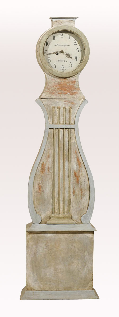19th C. Swedish Mora Clock w/Lyre Shape