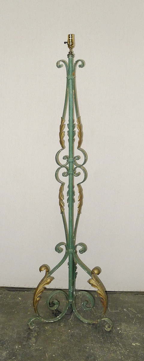 French Painted Iron Floor Lamp, Rewired