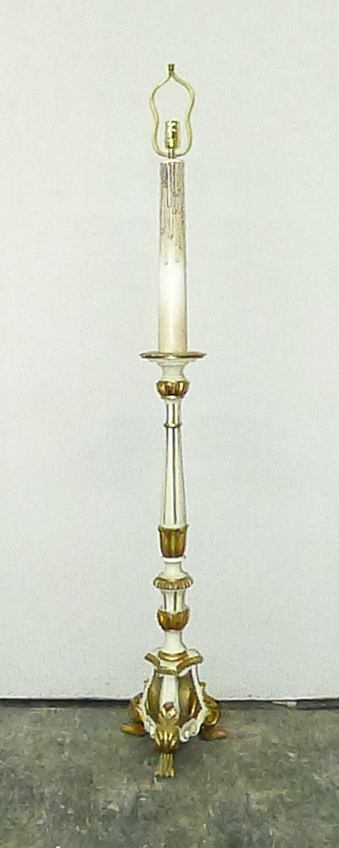 Painted & Gilded Candlestick Floor Lamp