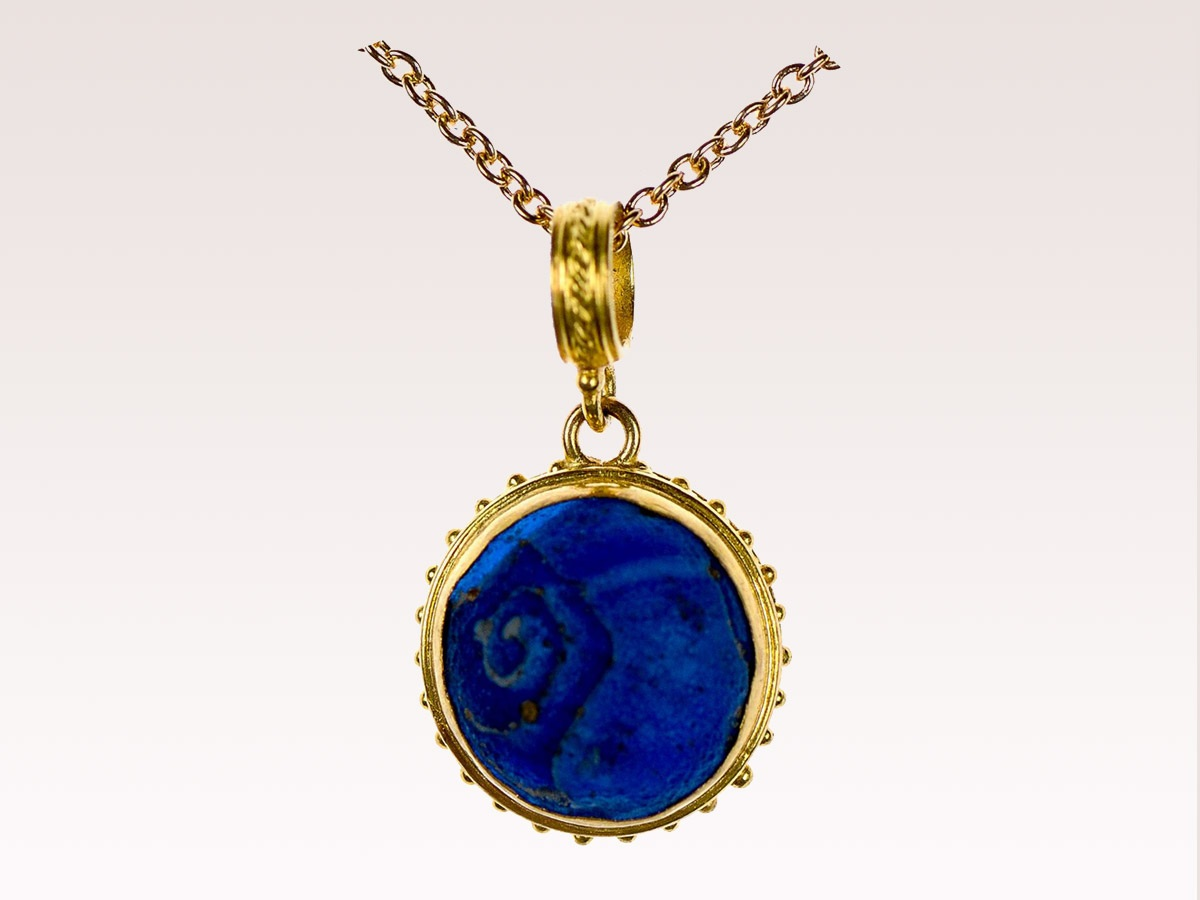 Roman Blue Glass Charm Pendant