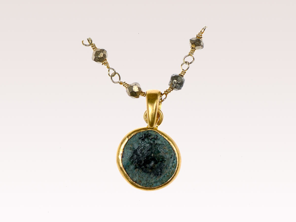 Roman Coin & Pyrite Necklace