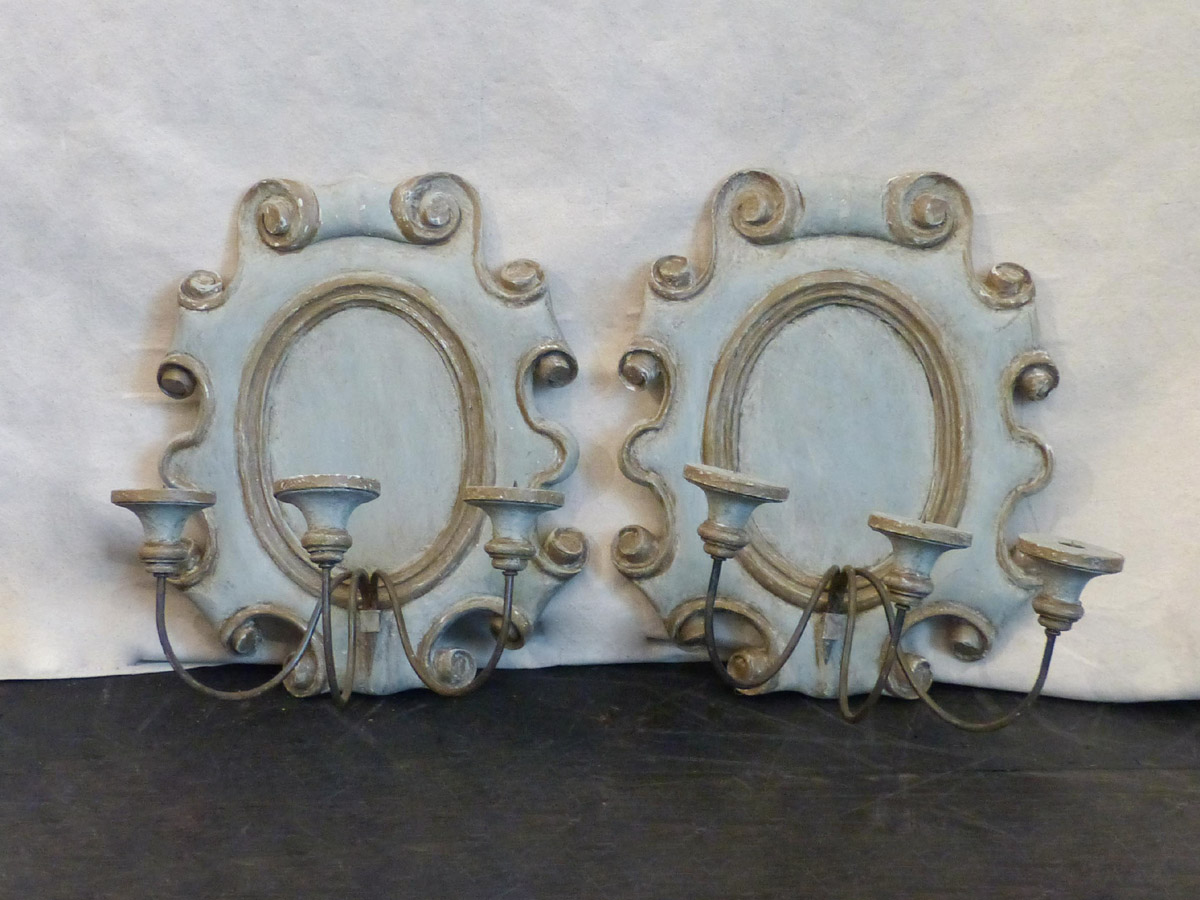 A Pair of Painted Sconces