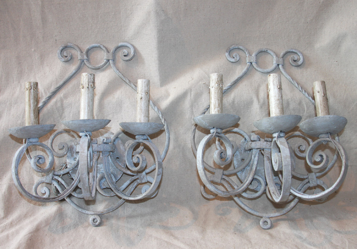 French Scrolled & Painted Iron Sconces