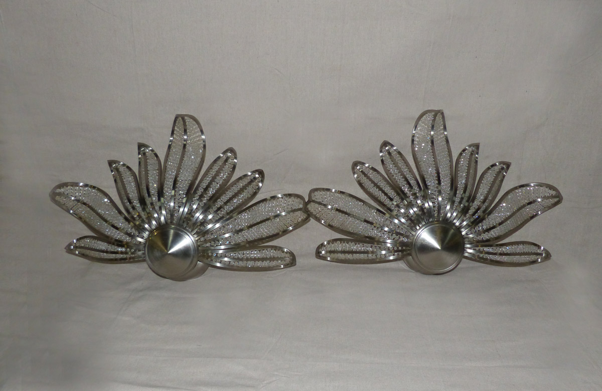 Pair Modern Style Fanned Sconces, Wired
