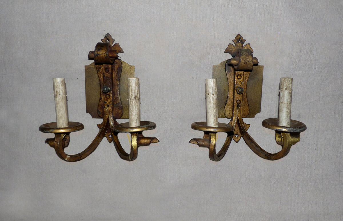 Pair of French Gilded Sconces