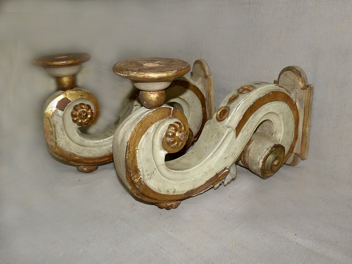 Pair Italian S-Scroll Single Arm Sconces