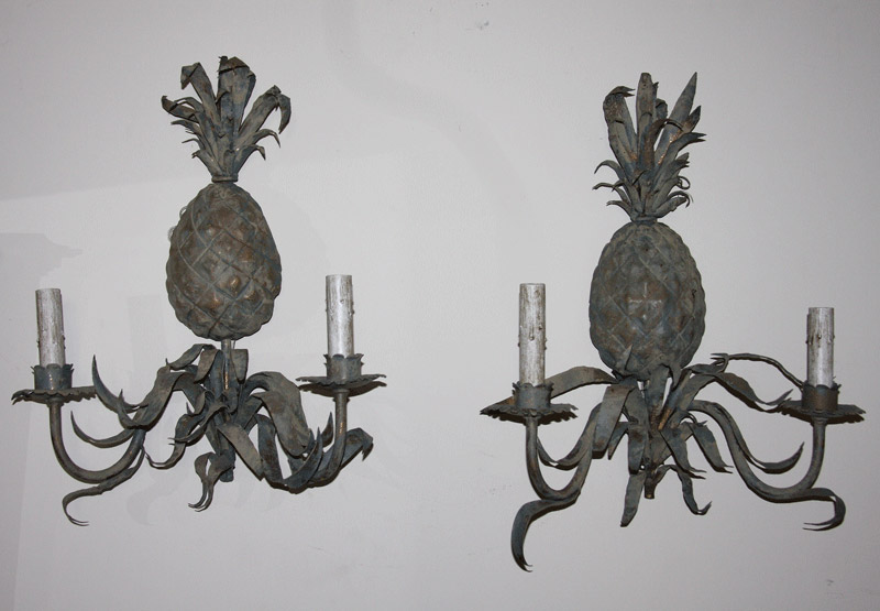 "Pair French ""Pineapple"" Sconces, Wired"