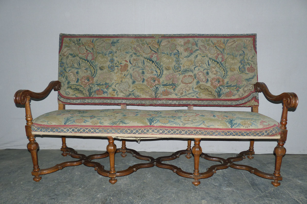 19th C. English Wood & Upholstered Settee