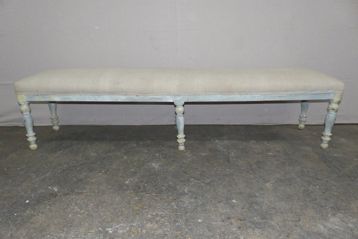 19th C. French Upholstered 6.5 ft Bench