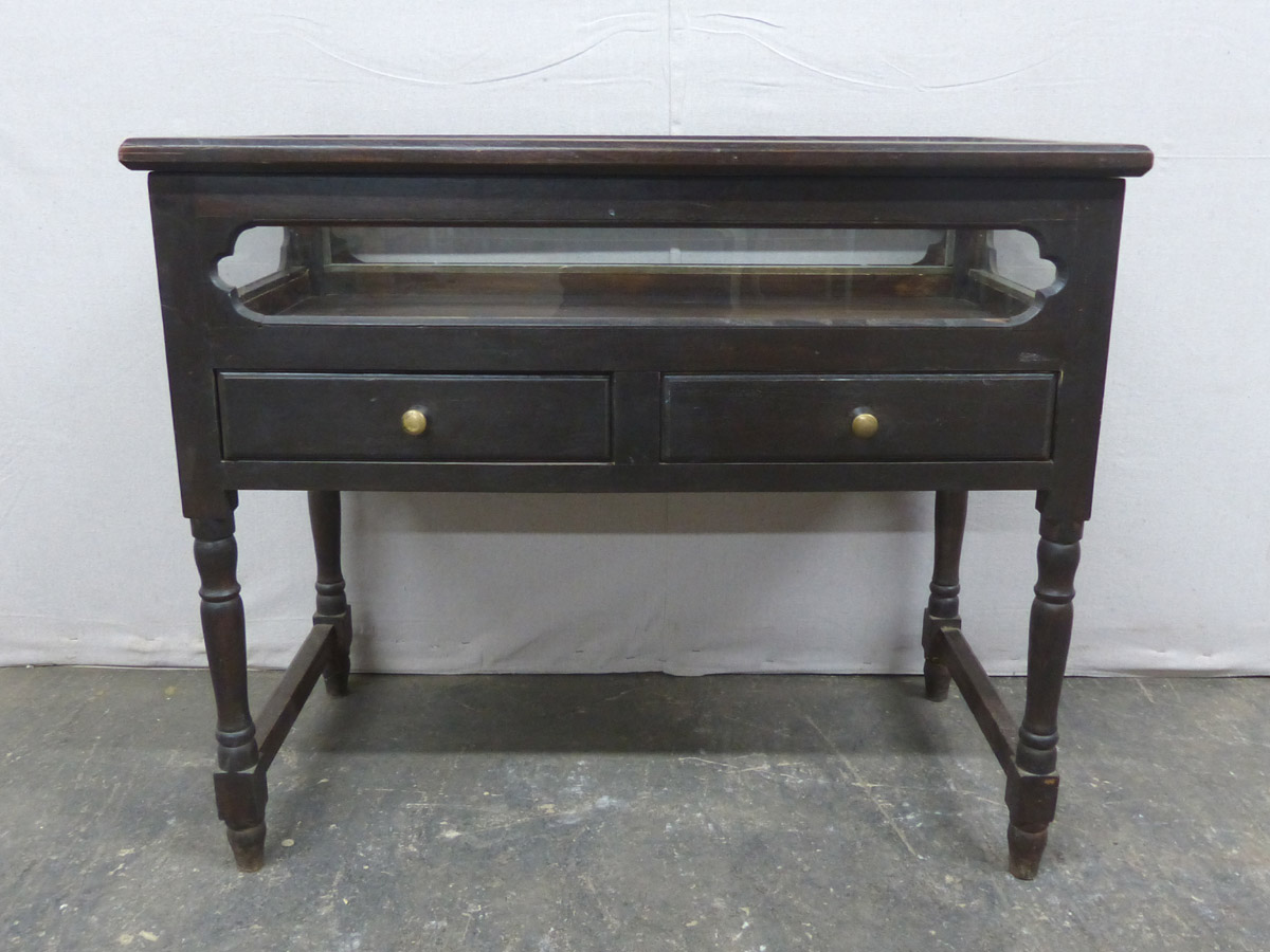 Dark Wood Display Top Table w/Drawers