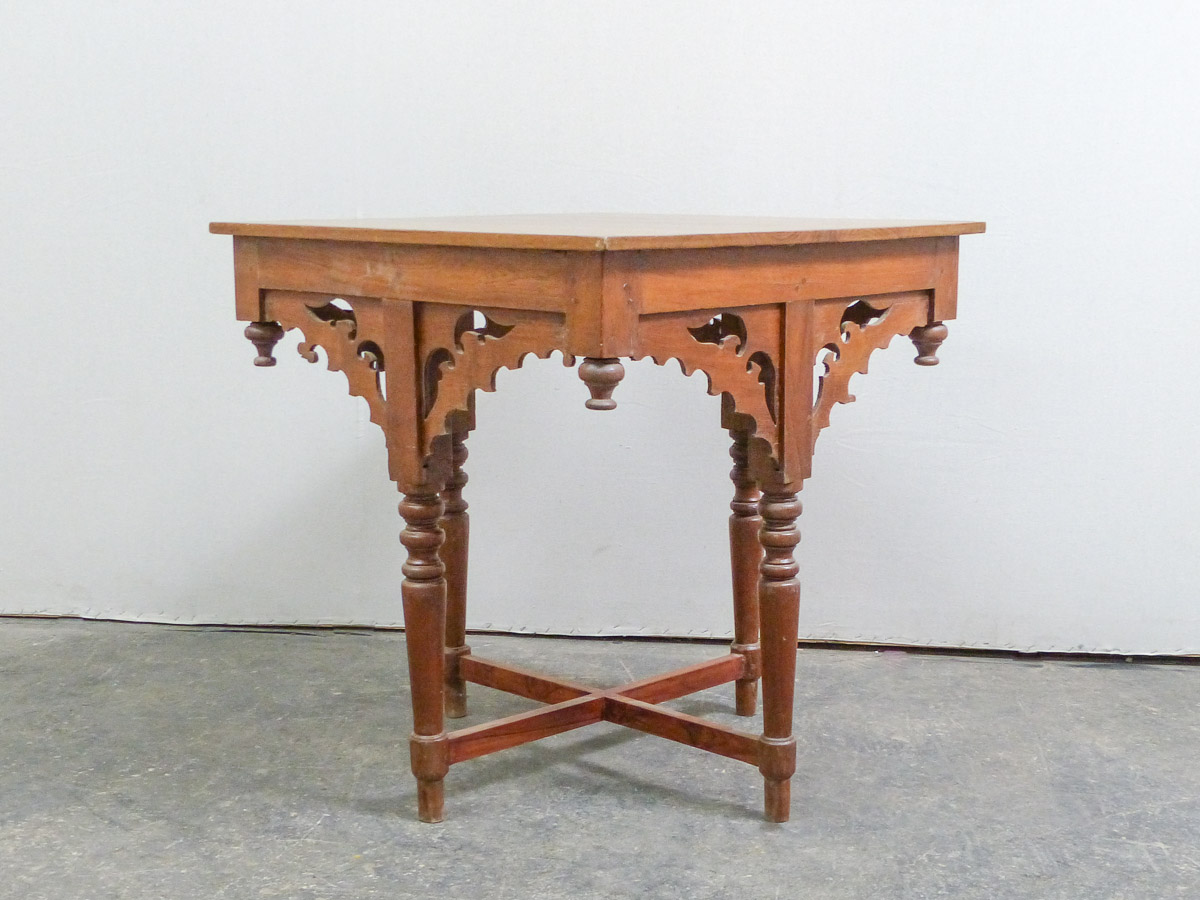 Antique Square-Top Table w/Ornate Skirt